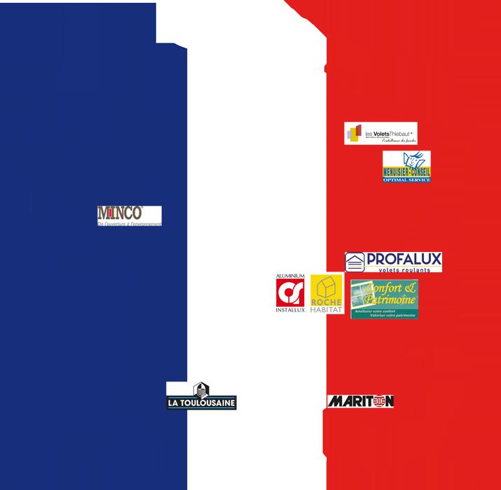 Carte de France de nos partenaires - Fabricants français