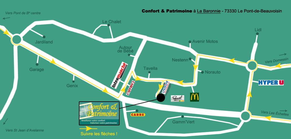 Plan d'accès à Confort et Patrimoine à la Baronnie, Pont de Beauvoisin